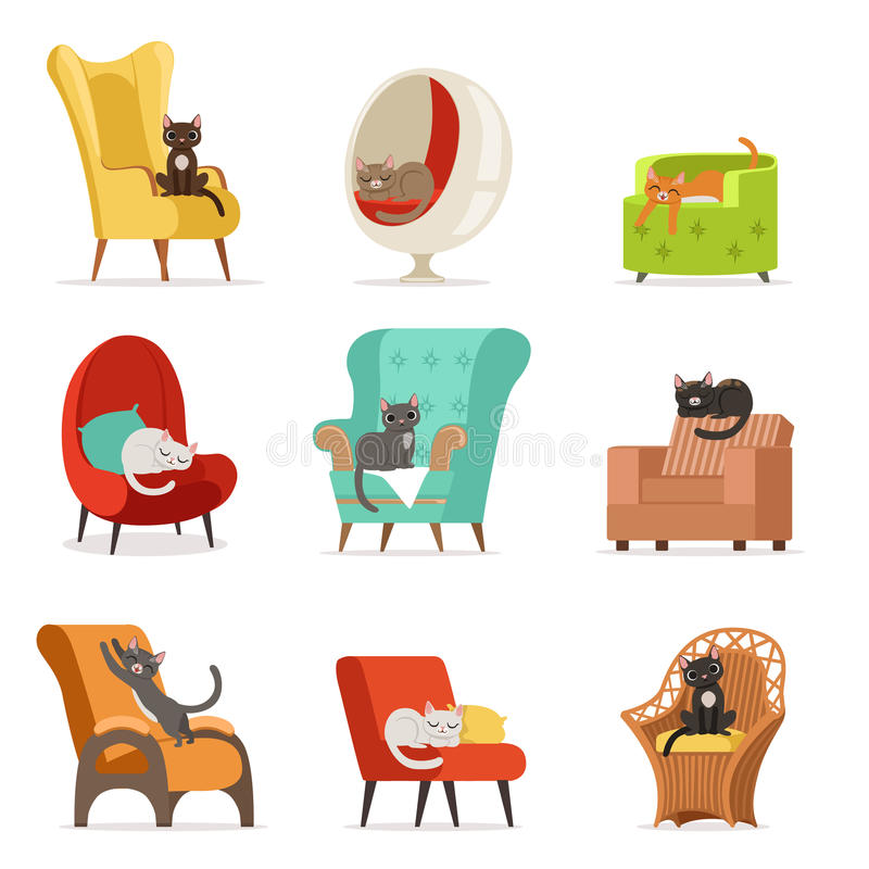 Χαριτωμένοι διαφορετικοί χαρακτήρες γατών που βρίσκονται και που στηρίζονται στο σύνολο πολυθρόνων διανυσματικών απεικονίσεων διανυσματική απεικόνιση