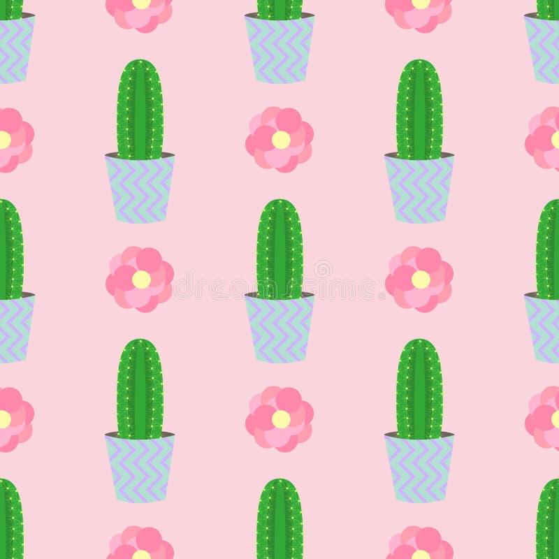 Χαριτωμένοι κάκτοι, flowerpots Άνευ ραφής σχέδιο με τους χαριτωμένους κάκτους Φύση, άνοιξη χαριτωμένη απεικόνιση ελεύθερη απεικόνιση δικαιώματος