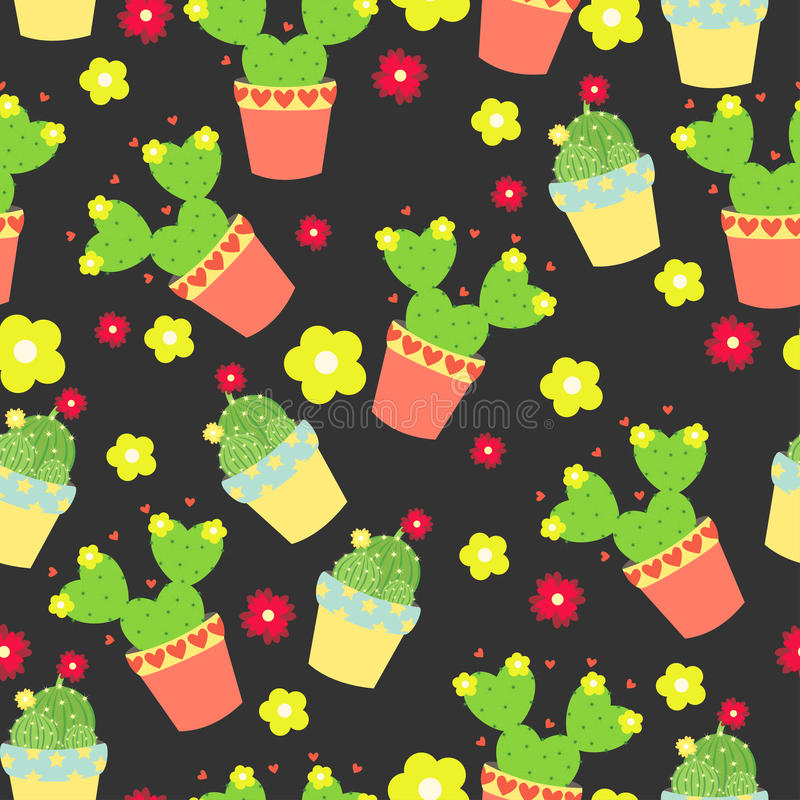 Χαριτωμένοι κάκτοι, flowerpots Άνευ ραφής σχέδιο με τους χαριτωμένους κάκτους Φύση, άνοιξη χαριτωμένη απεικόνιση διανυσματική απεικόνιση