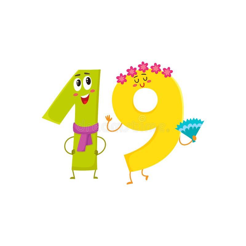 Χαριτωμένοι και αστείοι ζωηρόχρωμοι χαρακτήρες 19 αριθμών, χαιρετισμοί γενεθλίων απεικόνιση αποθεμάτων