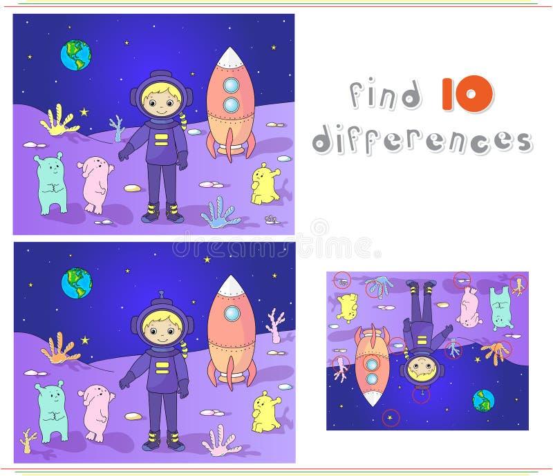 Χαριτωμένοι και φιλικοί Αριανοί που χαιρετούν τον αστροναύτη στον πλανήτη τους Γ διανυσματική απεικόνιση