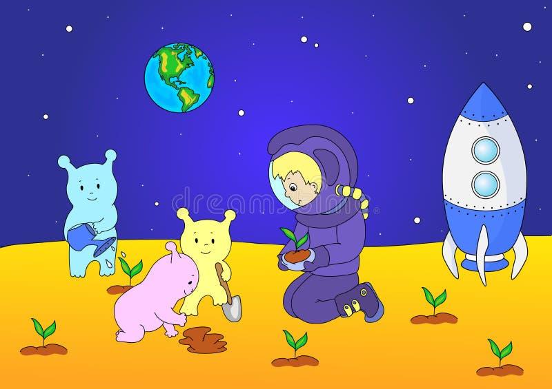 Χαριτωμένοι και φιλικοί αλλοδαποί και αστροναύτης που ποτίζουν τις εγκαταστάσεις στο θόριο απεικόνιση αποθεμάτων