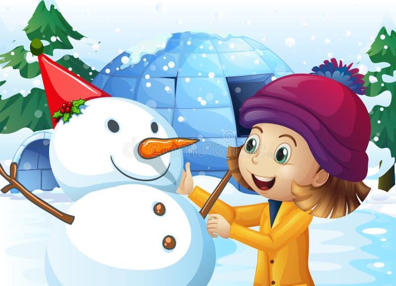 Χαριτωμένοι κορίτσι και χιονάνθρωπος μπροστά από την παγοκαλύβα απεικόνιση αποθεμάτων