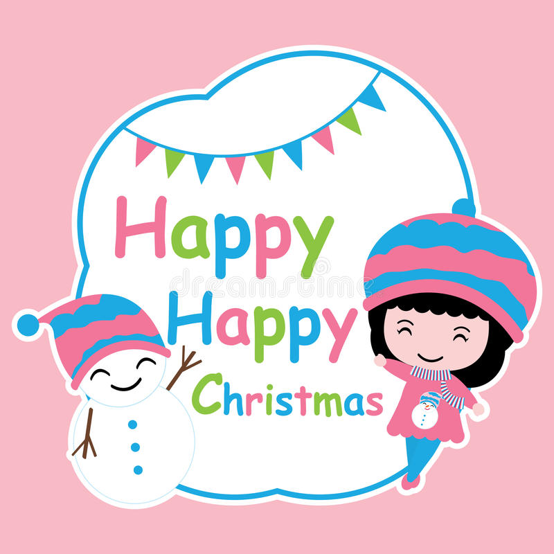 Χαριτωμένοι κορίτσι και χιονάνθρωπος στα μπλε κινούμενα σχέδια πλαισίων, την κάρτα Χριστουγέννων, την ταπετσαρία, και τη ευχετήρι ελεύθερη απεικόνιση δικαιώματος