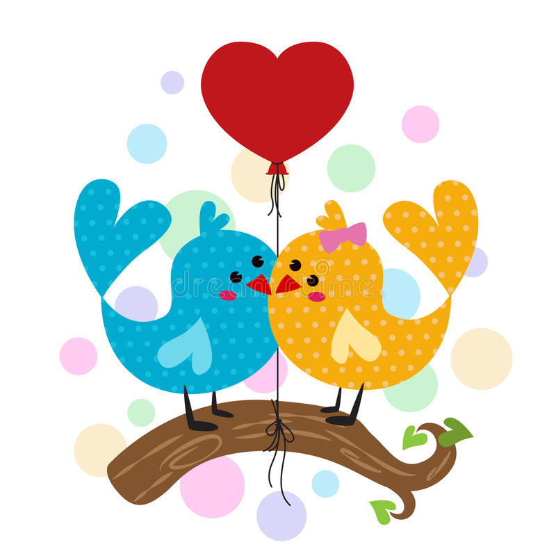 Χαριτωμένοι κλάδοι πουλιών ζεύγους και κόκκινο μπαλόνι καρδιών απεικόνιση αποθεμάτων