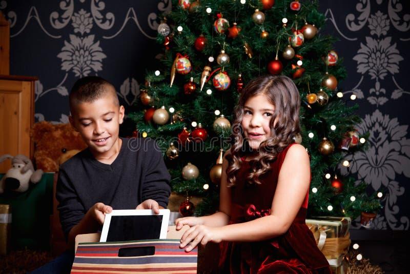 Χαριτωμένοι μικροί αμφιθαλείς που ανοίγουν ένα χριστουγεννιάτικο δώρο στοκ εικόνα με δικαίωμα ελεύθερης χρήσης