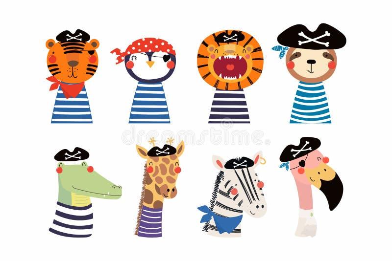 Χαριτωμένοι μικροί πειρατές ζώων καθορισμένοι ελεύθερη απεικόνιση δικαιώματος