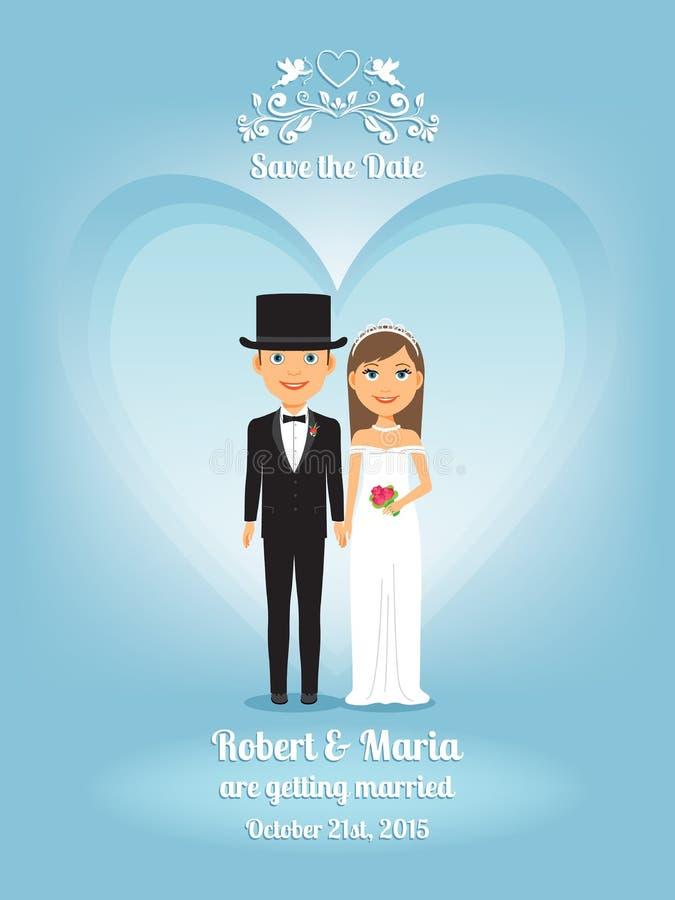 Χαριτωμένοι νύφη και νεόνυμφος κινούμενων σχεδίων στη γαμήλια πρόσκληση απεικόνιση αποθεμάτων