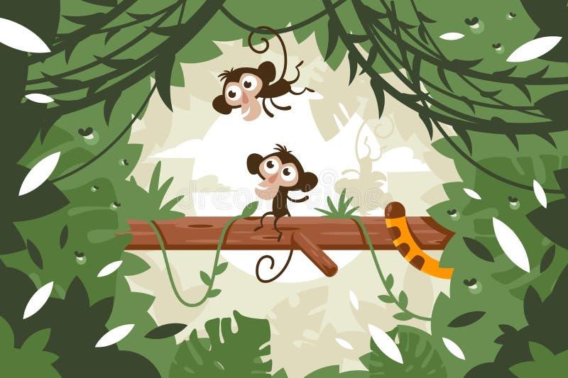 Χαριτωμένοι πίθηκοι στο δέντρο μεταξύ της βλάστησης και της ουράς της τίγρης στη ζούγκλα ελεύθερη απεικόνιση δικαιώματος