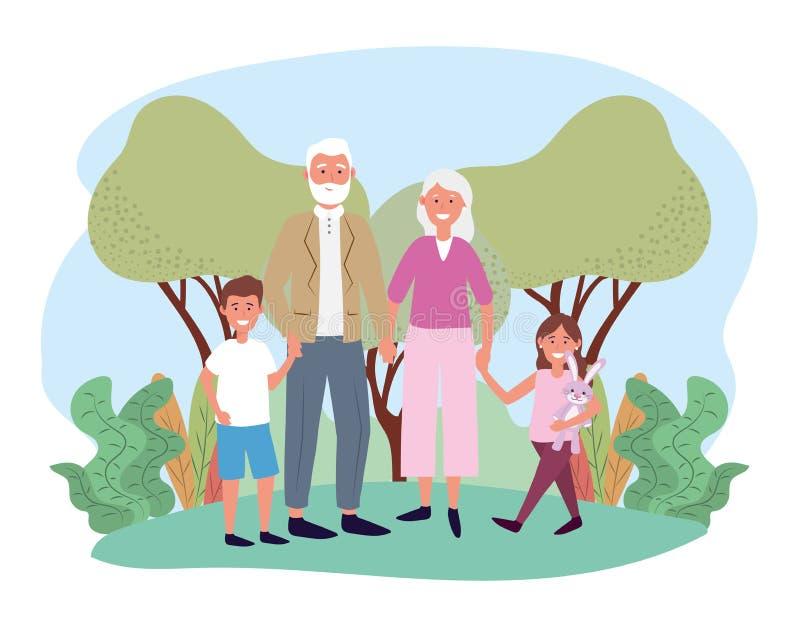 Χαριτωμένοι παππούς και γιαγιά με δικούς τους ευτυχή παιδιά απεικόνιση αποθεμάτων