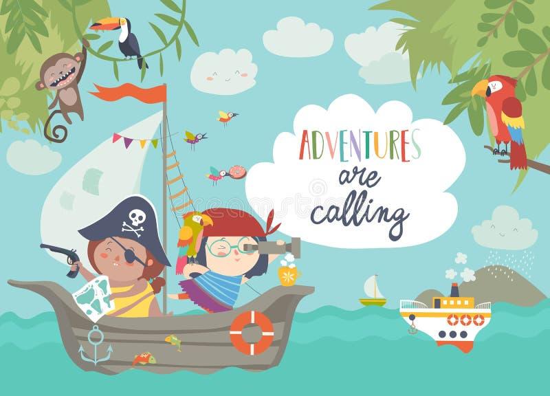 Χαριτωμένοι πειρατές που πλέουν στο σκάφος τους ελεύθερη απεικόνιση δικαιώματος