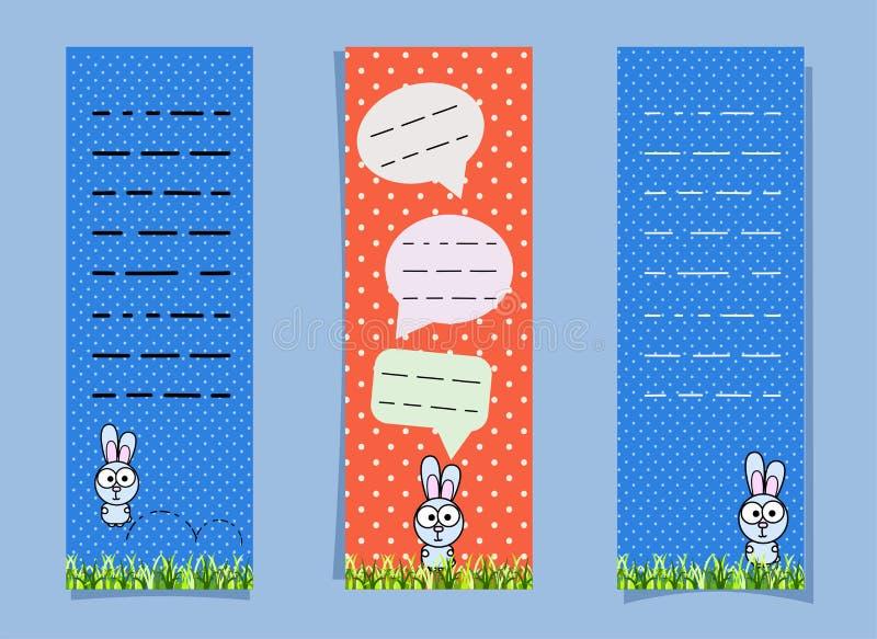 Χαριτωμένοι σελιδοδείκτες με το λαγουδάκι και τις συνομιλητικές φυσαλίδες κατακόρυφος εμβλημάτων Κουνέλι που πηδά στη χλόη αστείο διανυσματική απεικόνιση