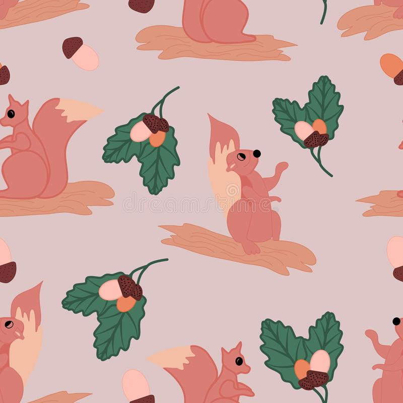 Χαριτωμένοι σκίουροι με τα φυστίκια και τα φύλλα, σε ένα άνευ ραφής σχέδιο σχεδίων διανυσματική απεικόνιση