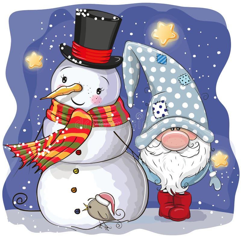 Χαριτωμένοι στοιχειό και χιονάνθρωπος κινούμενων σχεδίων διανυσματική απεικόνιση
