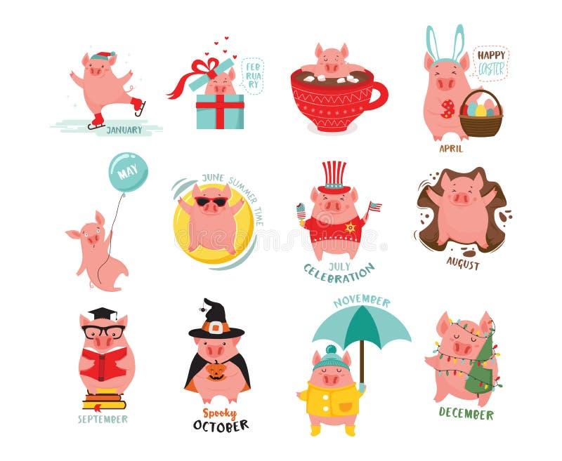 Χαριτωμένοι, τυποποιημένοι μηνιαίοι χοίροι για ένα ημερολόγιο Μπορέστε να χρησιμοποιηθείτε για το έμβλημα, αφίσα, κάρτα, κάρτα κα ελεύθερη απεικόνιση δικαιώματος