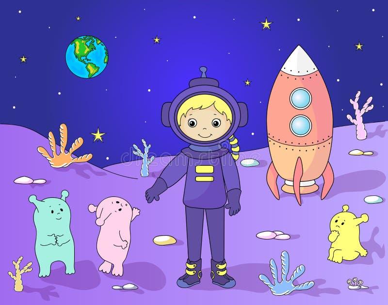 Χαριτωμένοι φιλικοί Αριανοί που χαιρετούν τον αστροναύτη στον πλανήτη τους cosmo διανυσματική απεικόνιση