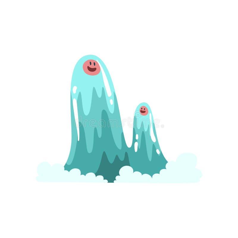 Χαριτωμένοι χαρακτήρες κινουμένων σχεδίων τεράτων νερού, διανυσματική απεικόνιση πλασμάτων φαντασίας διανυσματική απεικόνιση