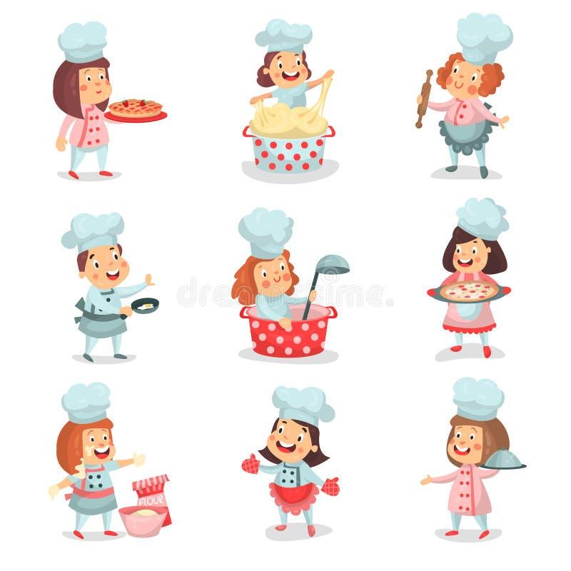 Χαριτωμένοι χαρακτήρες κινουμένων σχεδίων παιδιών λίγων μαγείρων κύριοι που μαγειρεύουν τα τρόφιμα και τις ψήσιμο λεπτομερείς ζωη ελεύθερη απεικόνιση δικαιώματος