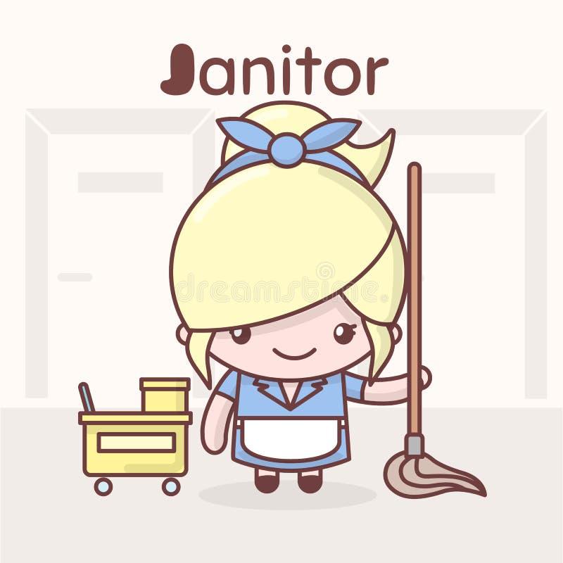Χαριτωμένοι χαρακτήρες kawaii chibi Επαγγέλματα αλφάβητου Το γράμμα J - Janitor διανυσματική απεικόνιση