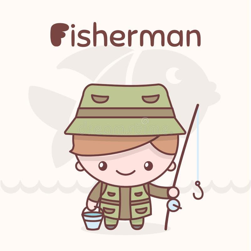 Χαριτωμένοι χαρακτήρες kawaii chibi Επαγγέλματα αλφάβητου Γράμμα Φ - FFisherman διανυσματική απεικόνιση