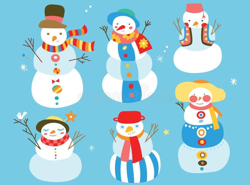 χαριτωμένοι χιονάνθρωποι διανυσματική απεικόνιση