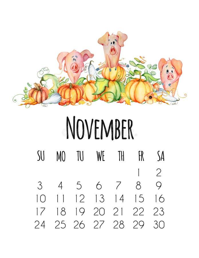 Χαριτωμένοι χοίροι με το συρμένο χέρι watercolor προτύπων ημέρας των ευχαριστιών 2019 συγκομιδών κολοκυθών διανυσματική απεικόνιση