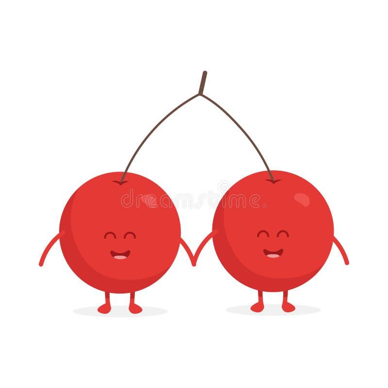 Χαριτωμένοι δύο χαρακτήρες φρούτων κερασιών με την απεικόνιση προσώπων και χεριών απεικόνιση αποθεμάτων