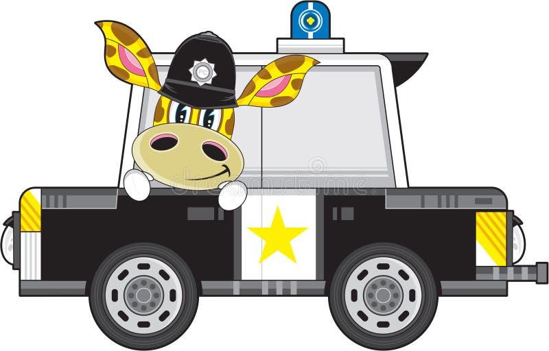 Χαριτωμένοι Giraffe κινούμενων σχεδίων αστυνομικός και περιπολικό της Αστυνομίας ελεύθερη απεικόνιση δικαιώματος