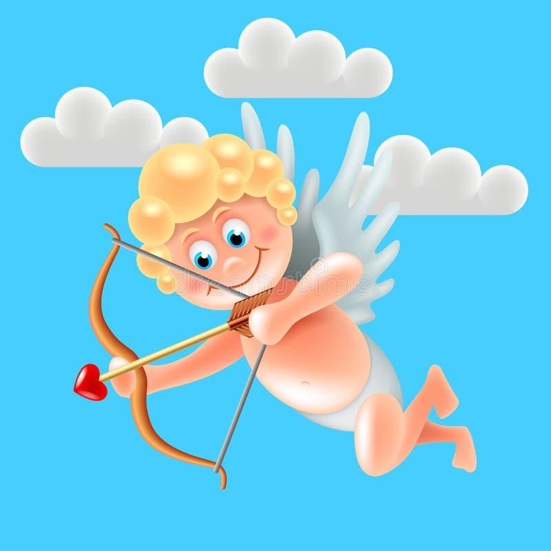 Χαριτωμένος άγγελος cupid κινούμενων σχεδίων στο διάνυσμα μπλε ουρανού ελεύθερη απεικόνιση δικαιώματος