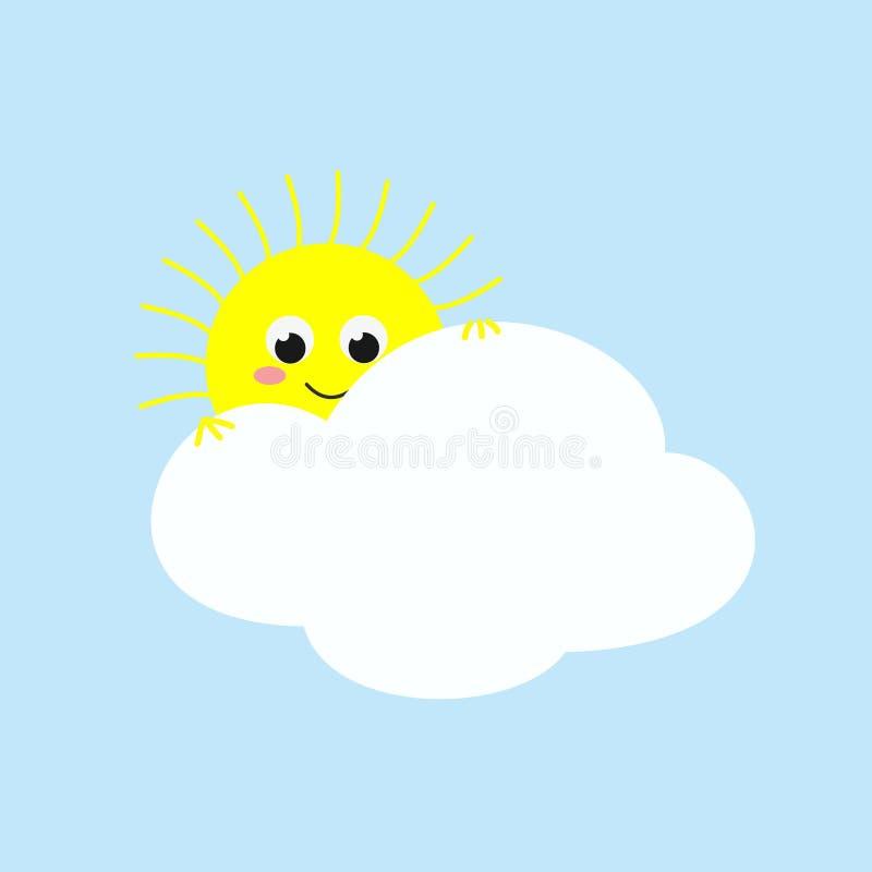 Χαριτωμένος ήλιος που κοιτάζει έξω από πίσω από ένα σύννεφο επίσης corel σύρετε το διάνυσμα απεικόνισης απεικόνιση αποθεμάτων