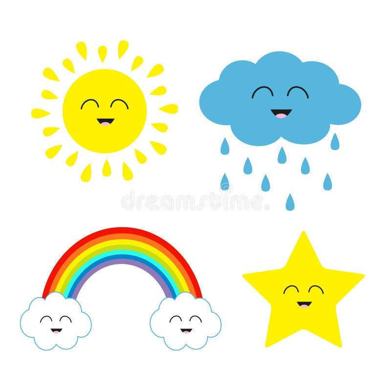 Χαριτωμένος ήλιος kawaii κινούμενων σχεδίων, σύννεφο με τη βροχή, αστέρι, σύνολο ουράνιων τόξων διανυσματική απεικόνιση