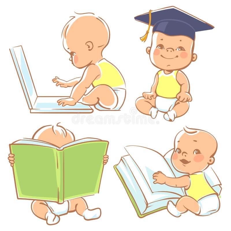 Χαριτωμένος λίγη εκμάθηση μωρών απεικόνιση αποθεμάτων