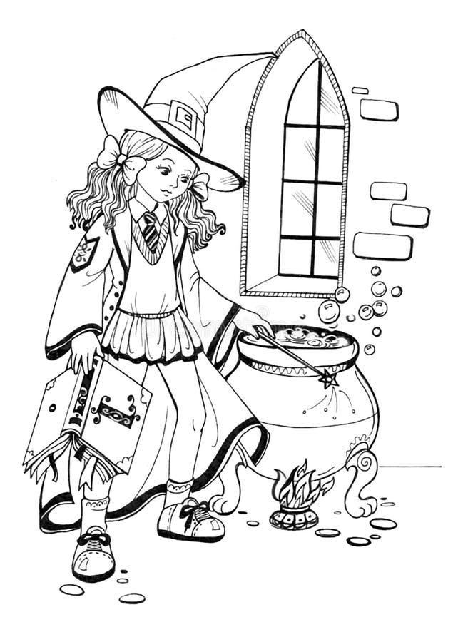 Χαριτωμένος λίγη μάγισσα με το καζάνι διανυσματική απεικόνιση