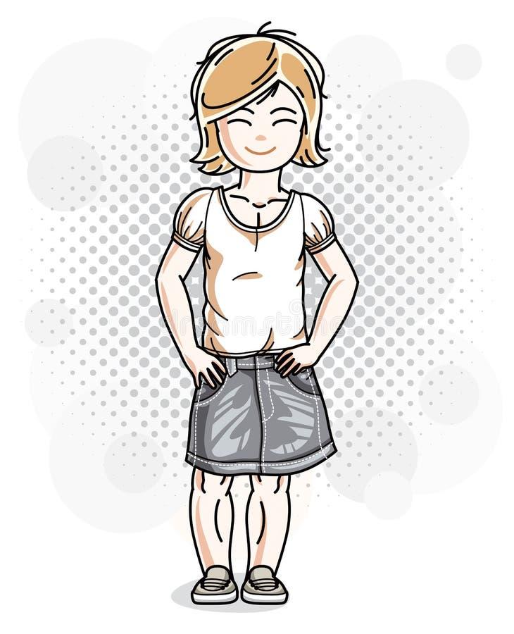 Χαριτωμένος λίγο ξανθό κορίτσι στην ένδυση τζιν Διανυσματική απεικόνιση της HU διανυσματική απεικόνιση