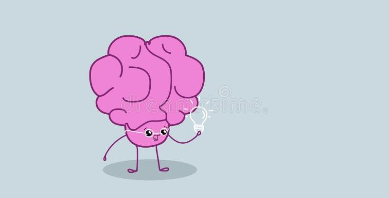 Χαριτωμένος ανθρώπινος εγκέφαλος που κρατά το ελαφρύ λαμπτήρων δημιουργικό ιδέας δημιουργικότητας φαντασίας ύφος kawaii χαρακτήρα απεικόνιση αποθεμάτων