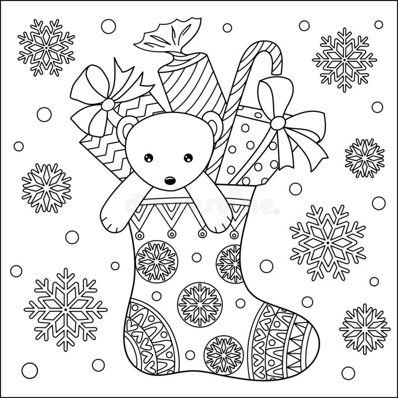 Χαριτωμένος αντέξτε teddy και τα δώρα στη χρωματίζοντας σελίδα καλτσών ελεύθερη απεικόνιση δικαιώματος