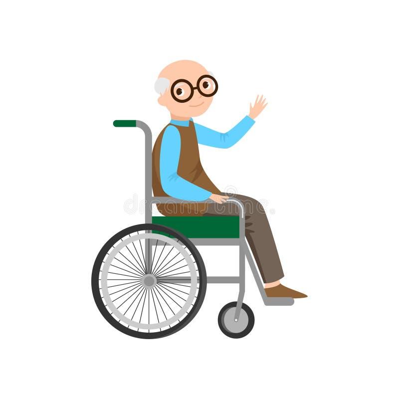 Χαριτωμένος ανώτερος ηληκιωμένος με eyeglasses στην κλασική αναπηρική καρέκλα διανυσματική απεικόνιση