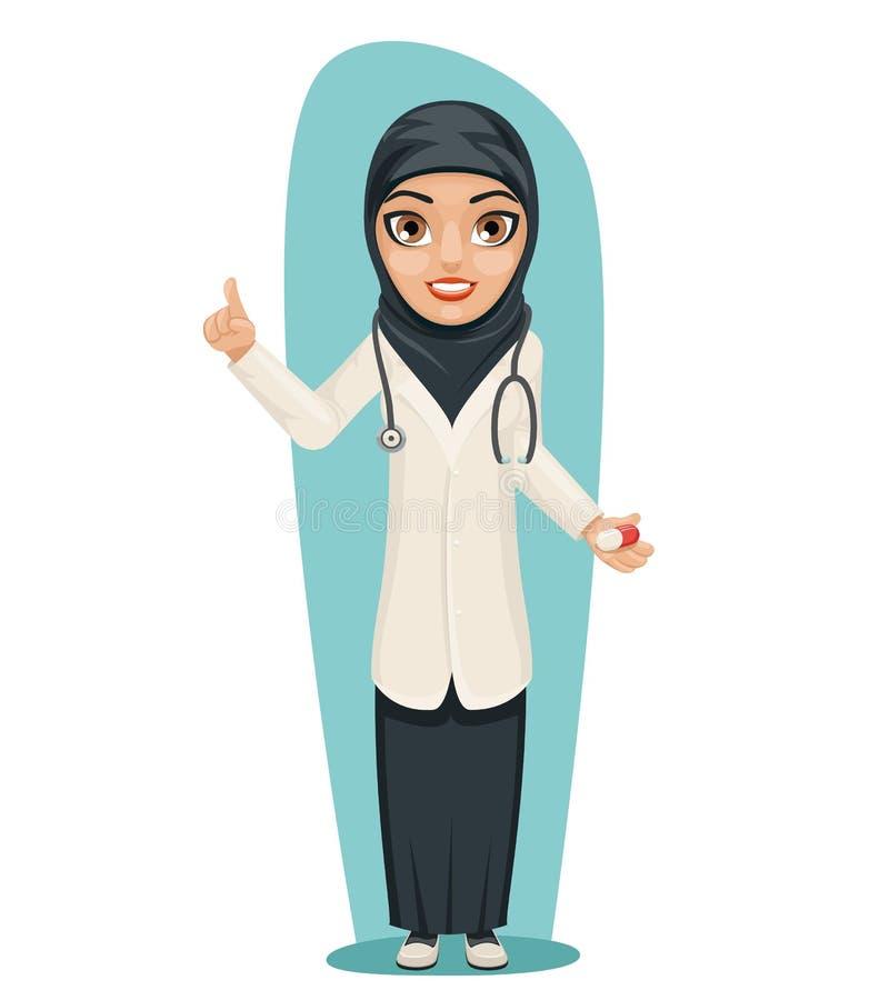 Χαριτωμένος αραβικός γιατρός με το διαθέσιμο δείκτη χεριών ιατρικής χαπιών επάνω συμβουλών στον κηρύσσοντας χαρακτήρα κοριτσιών π ελεύθερη απεικόνιση δικαιώματος