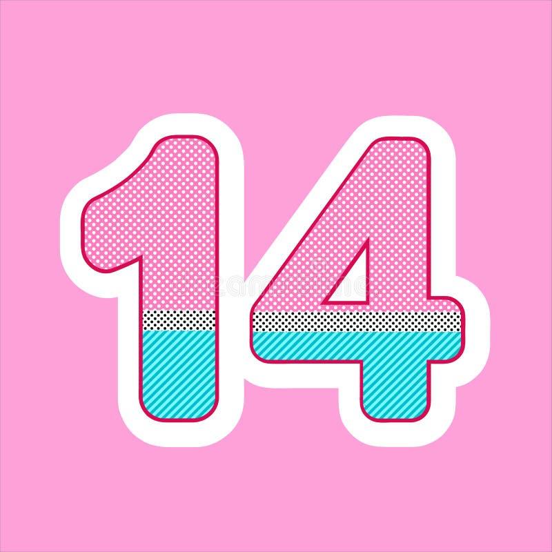 Χαριτωμένος αριθμός, αριθμός για τα γενέθλια των παιδιών, διακοπές στην κούκλα ύφους lol σχέδιο σημείων Πόλκα και διάνυσμα λωρίδω απεικόνιση αποθεμάτων