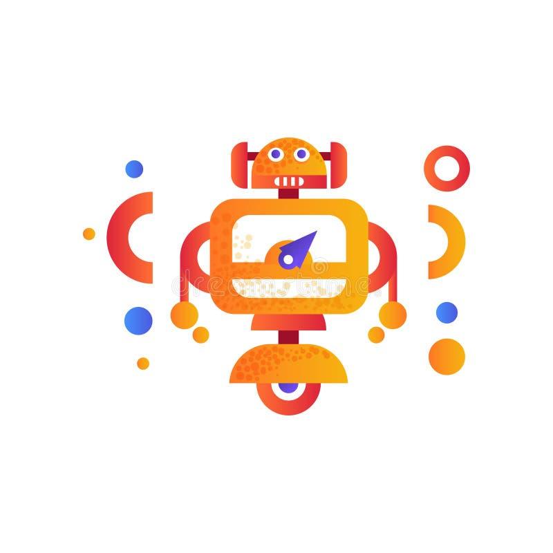 Χαριτωμένος αρρενωπός χαρακτήρας ρομπότ, τεχνητή ζωηρόχρωμη διανυσματική απεικόνιση μηχανών ρομποτικής σε ένα άσπρο υπόβαθρο διανυσματική απεικόνιση