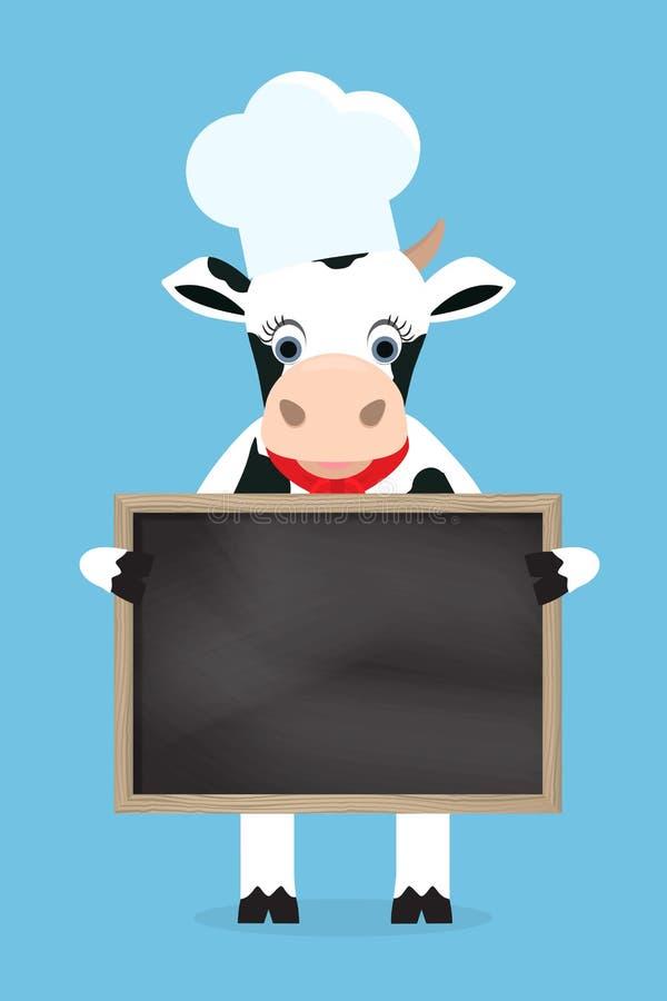 Χαριτωμένος αρχιμάγειρας αγελάδων που κρατά το μαύρο πίνακα στα χέρια επίσης corel σύρετε το διάνυσμα απεικόνισης διανυσματική απεικόνιση