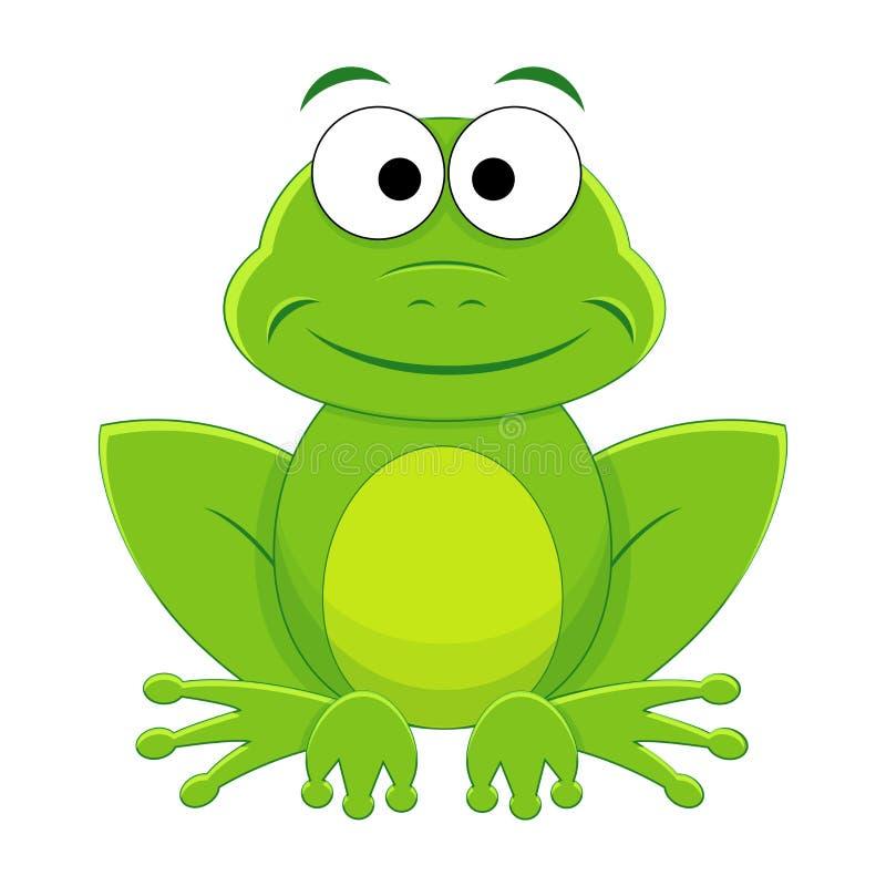 Χαριτωμένος αστείος βάτραχος κινούμενων σχεδίων ελεύθερη απεικόνιση δικαιώματος
