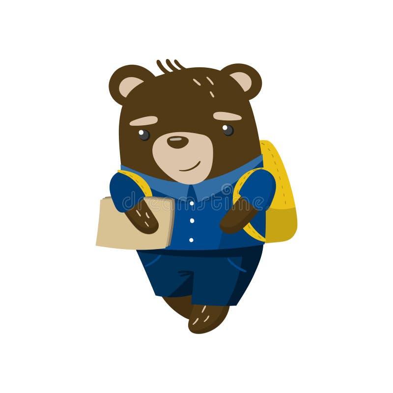 Χαριτωμένος αστείος λίγος σπουδαστής αρκούδων, ζώο μαθητών σε μια μπλε σχολική στολή, πίσω στη διανυσματική απεικόνιση σχολικής έ ελεύθερη απεικόνιση δικαιώματος