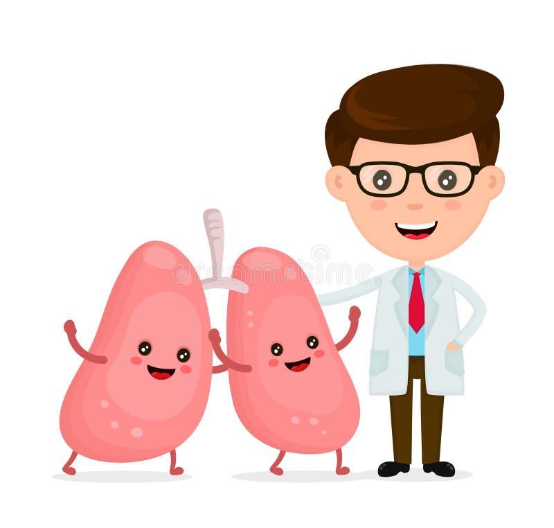Χαριτωμένος αστείος χαμογελώντας γιατρός και υγιές ευτυχές διάνυσμα πνευμόνων απεικόνιση αποθεμάτων
