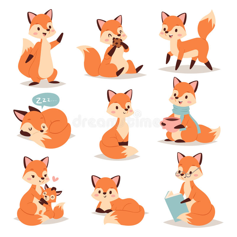 Χαριτωμένος λατρευτός χαρακτήρας αλεπούδων που κάνει τη διαφορετική κόκκινη ουρά φύσης δραστηριοτήτων αστεία ευτυχή και το πορτοκ ελεύθερη απεικόνιση δικαιώματος
