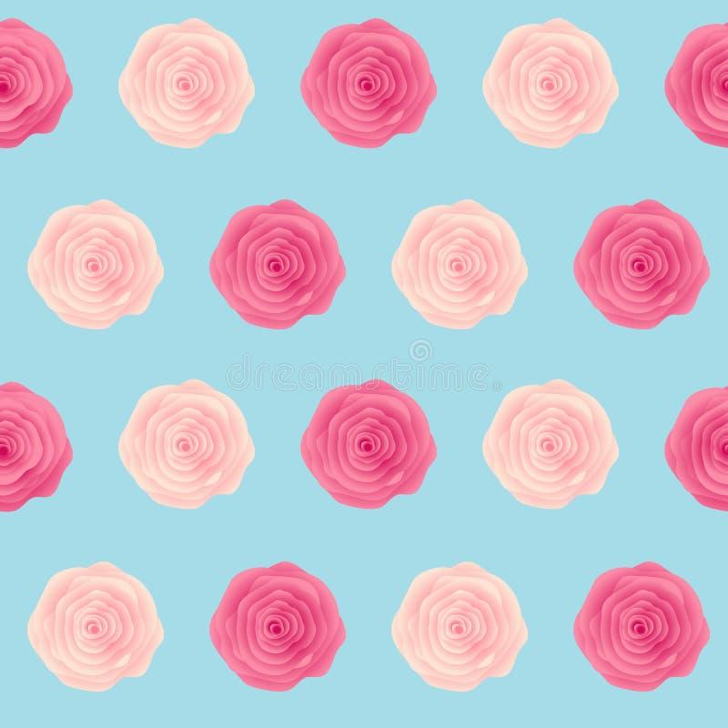 Χαριτωμένος αυξήθηκε διανυσματική απεικόνιση υποβάθρου σχεδίων λουλουδιών άνευ ραφής διανυσματική απεικόνιση