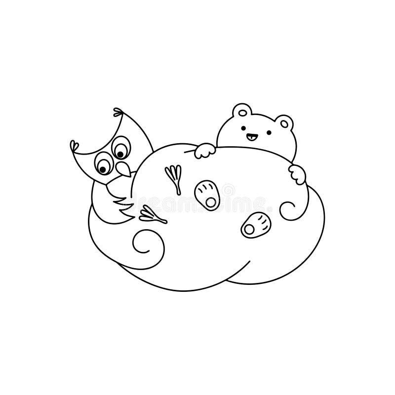 Χαριτωμένος αφορτε και κουκουβάγια ένα σύννεφο διανυσματική απεικόνιση