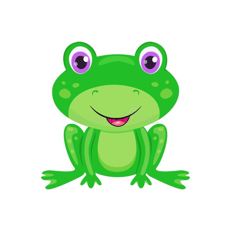 Χαριτωμένος βάτραχος κινούμενων σχεδίων που απομονώνεται στο άσπρο υπόβαθρο Αστείος φρύνος με τα φωτεινά μάτια, το χαμόγελο και τ απεικόνιση αποθεμάτων