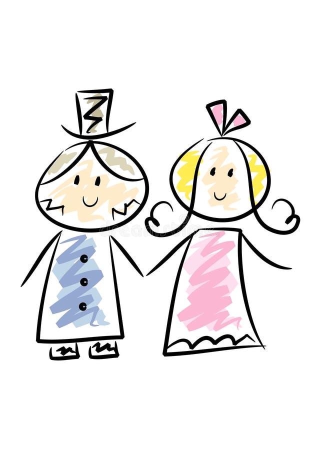 Download χαριτωμένος γάμος ζευγών διανυσματική απεικόνιση. εικονογραφία από τύπος - 13178998