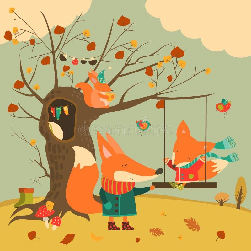 Χαριτωμένος γύρος αλεπούδων σε μια ταλάντευση στο δάσος φθινοπώρου απεικόνιση αποθεμάτων